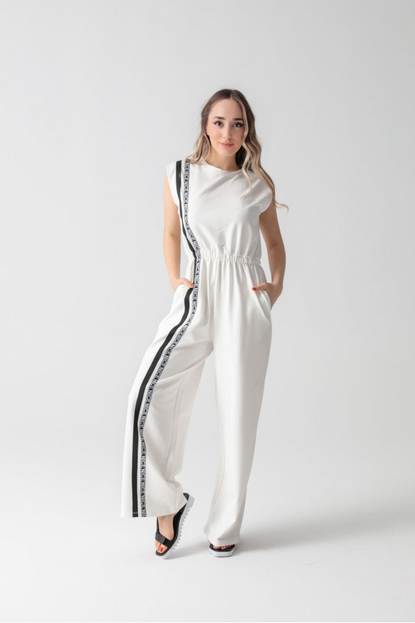 Combed Stripe Detailed Jumpsuit White