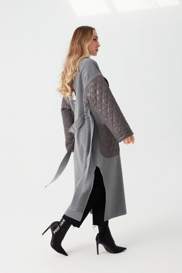 Hermes Quilted Embroidered Coat Gray