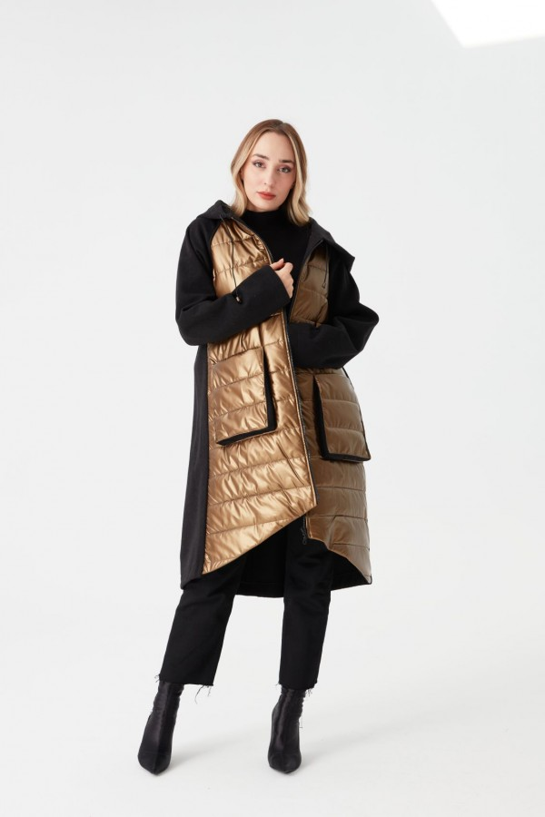Quilted Combination Coat Copper