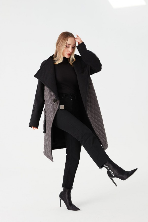 Quilted Combination Coat Gray